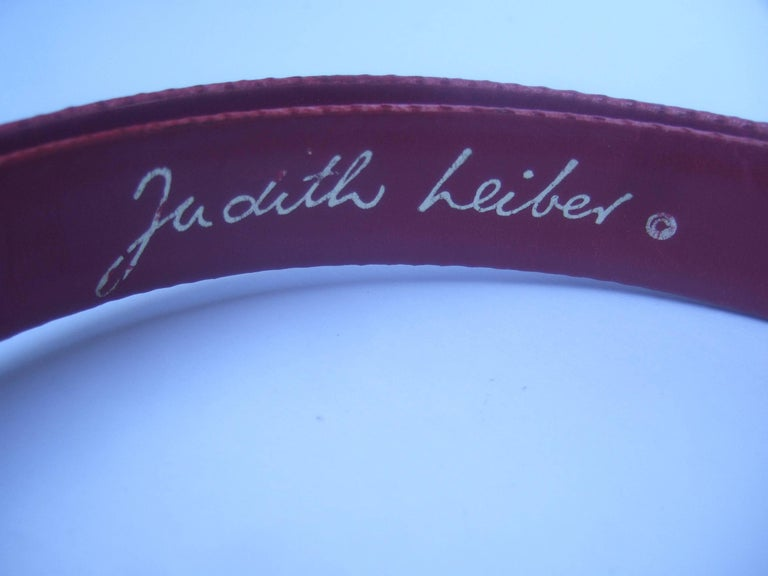 Judith Leiber Charming Monkey Buckle Red Leather Belt c 1980s For Sale 5