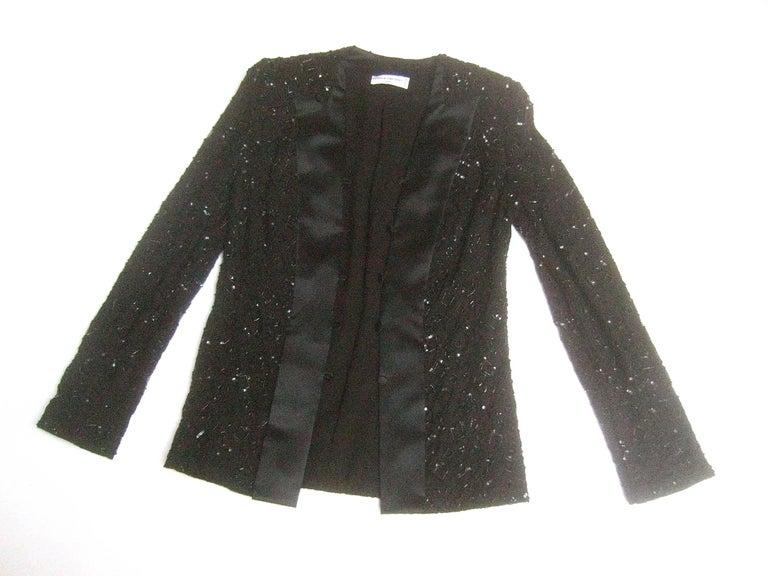 Mirella Cavorso Italian Black Silk Beaded Tuxedo Style Evening Jacket  For Sale 1