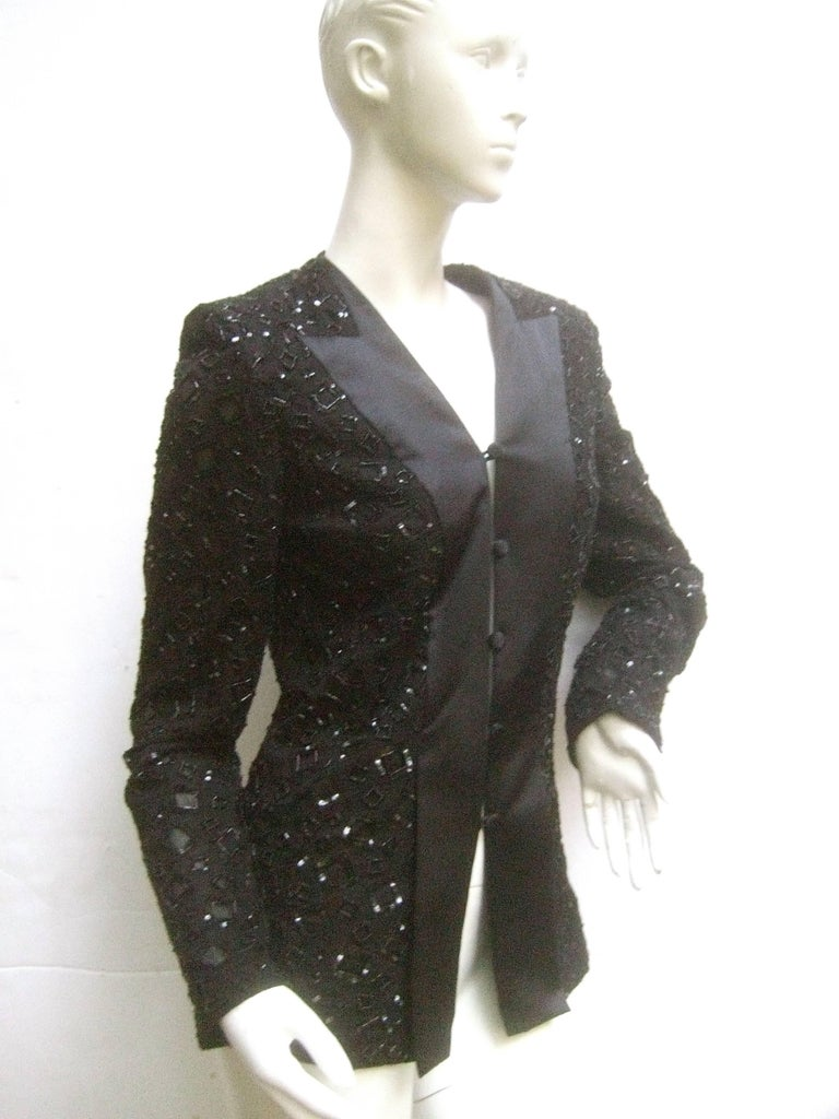 Mirella Cavorso Italian Black Silk Beaded Tuxedo Style Evening Jacket  In Good Condition For Sale In Santa Barbara, CA