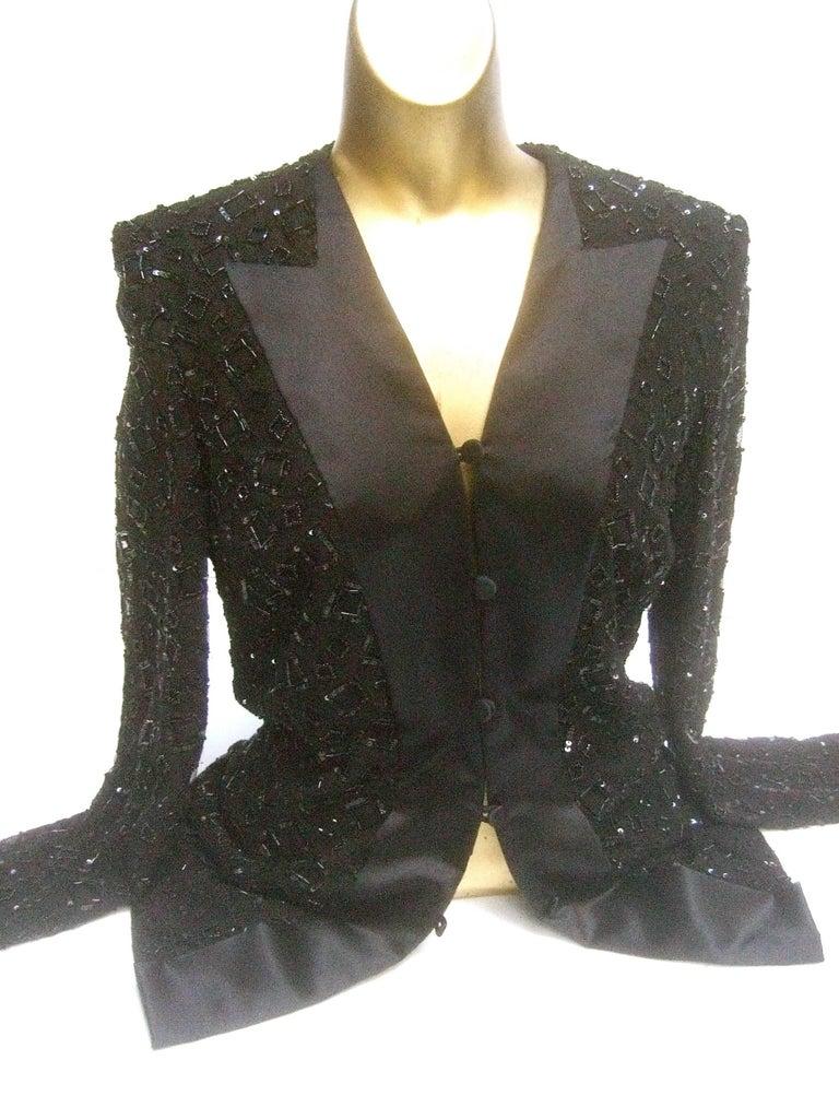 Women's Mirella Cavorso Italian Black Silk Beaded Tuxedo Style Evening Jacket  For Sale
