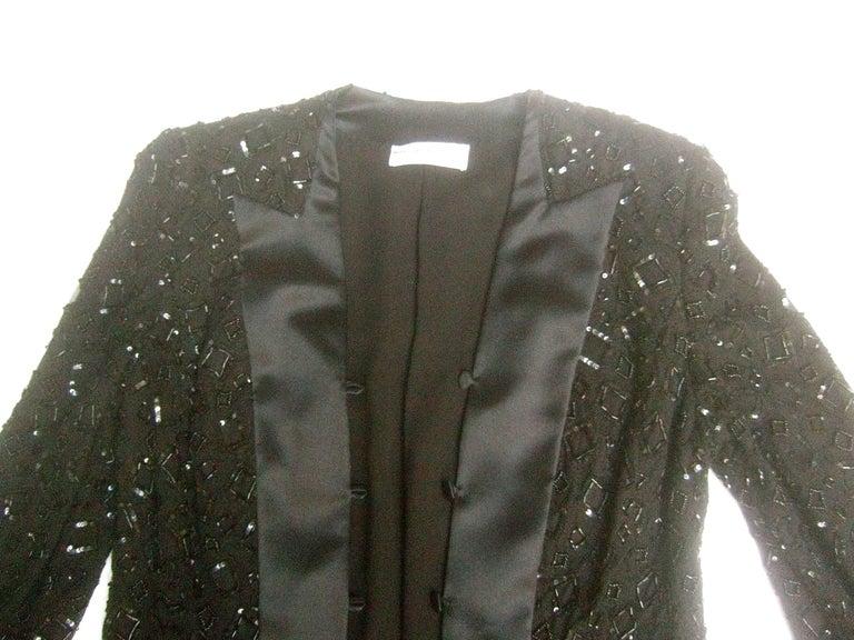 Mirella Cavorso Italian Black Silk Beaded Tuxedo Style Evening Jacket  For Sale 3