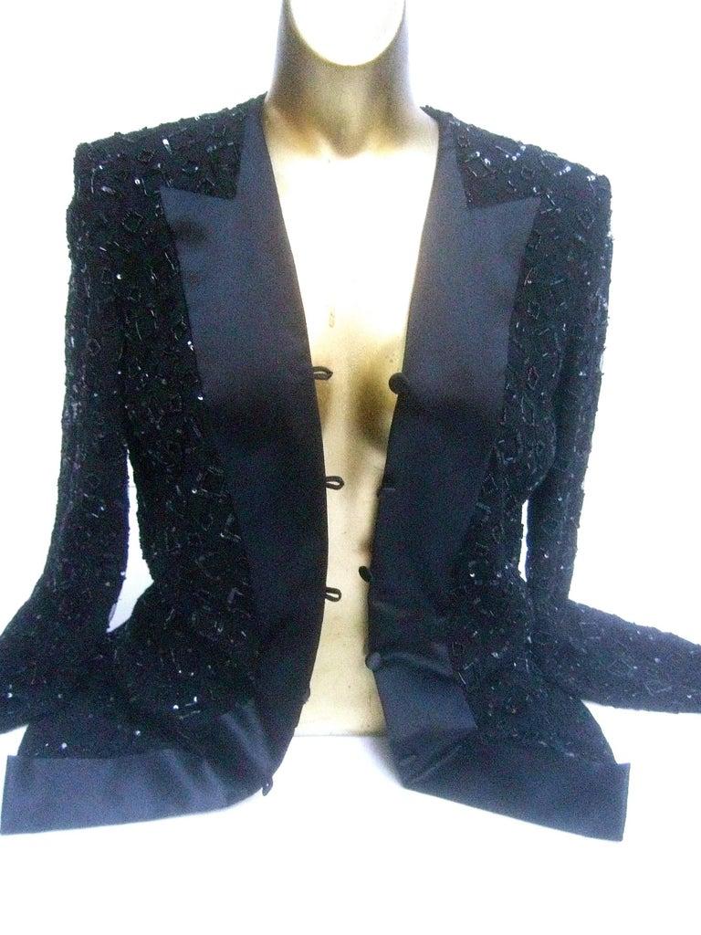 Mirella Cavorso Italian Black Silk Beaded Tuxedo Style Evening Jacket  For Sale 2
