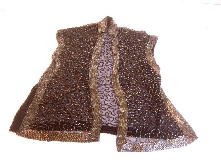 Exquisite Silver Glass Beaded Sheer Vest c 1970s In Good Condition For Sale In Santa Barbara, CA