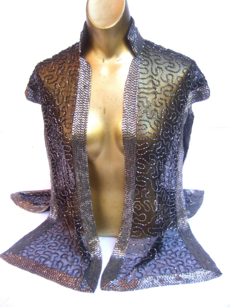 Exquisite Silver Glass Beaded Sheer Vest c 1970s For Sale 3