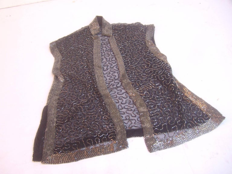 Exquisite Silver Glass Beaded Sheer Vest c 1970s For Sale 4