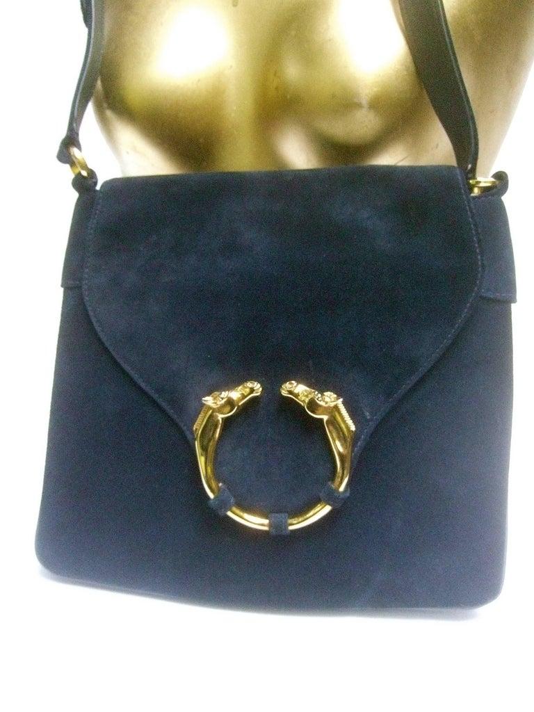 Gucci Rare Midnight Blue Equine Emblem Shoulder Bag C1970s qdNJ38tS