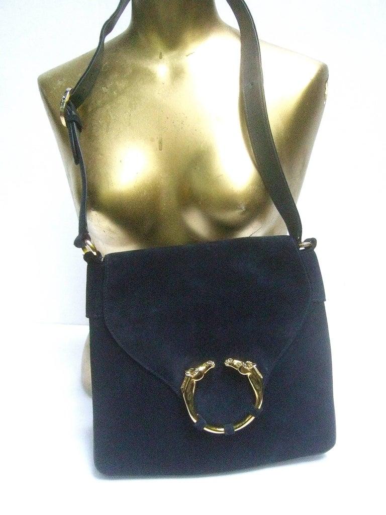 Gucci Rare Midnight Blue Equine Emblem Shoulder Bag c1970s For Sale 1