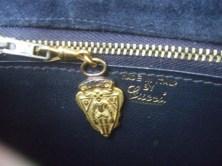 Gucci Rare Midnight Blue Equine Emblem Shoulder Bag c1970s For Sale 4