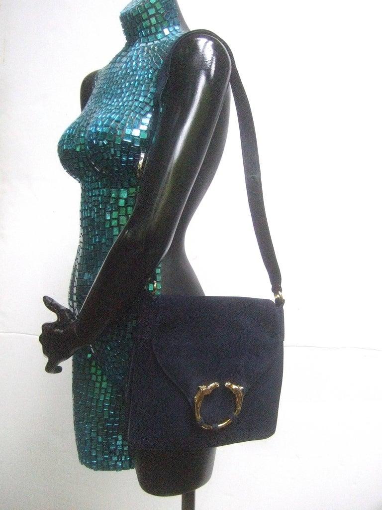 Gucci Rare Midnight Blue Equine Emblem Shoulder Bag c1970s For Sale 2