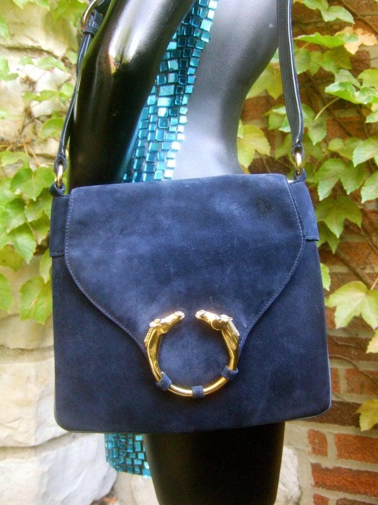 Women's Gucci Rare Midnight Blue Equine Emblem Shoulder Bag c1970s For Sale