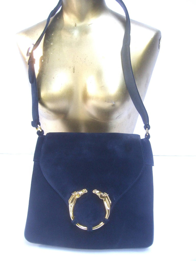 Gucci Rare Midnight Blue Equine Emblem Shoulder Bag c1970s For Sale 3