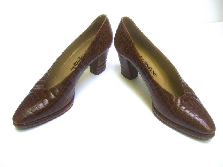 Yves Saint Laurent Italian Embossed Brown Leather Pumps US Size 7.5 M For Sale 1