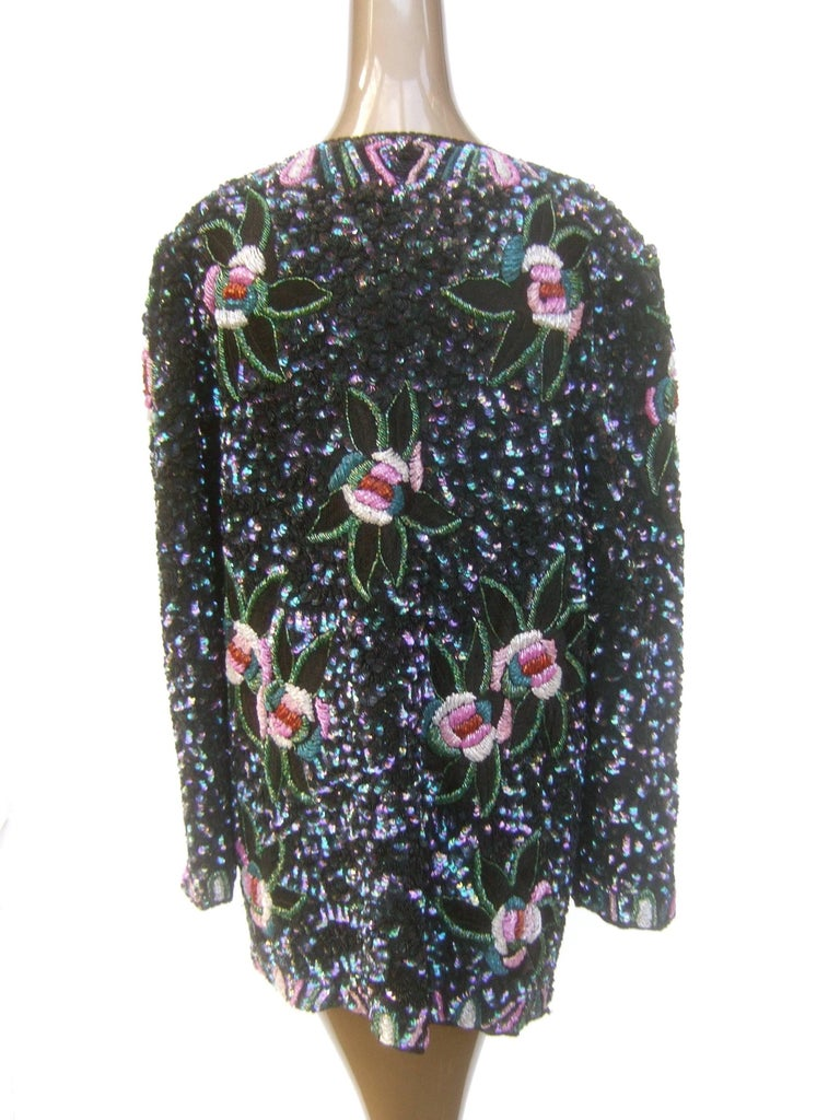 Women's Silk Glass Beaded Sequined Evening Jacket for Saks Fifth Avenue c 1980s For Sale