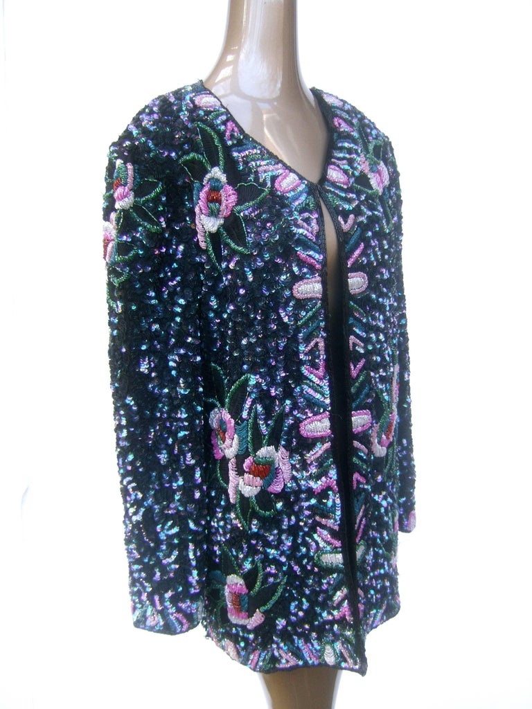 Silk Glass Beaded Sequined Evening Jacket for Saks Fifth Avenue c 1980s For Sale 2