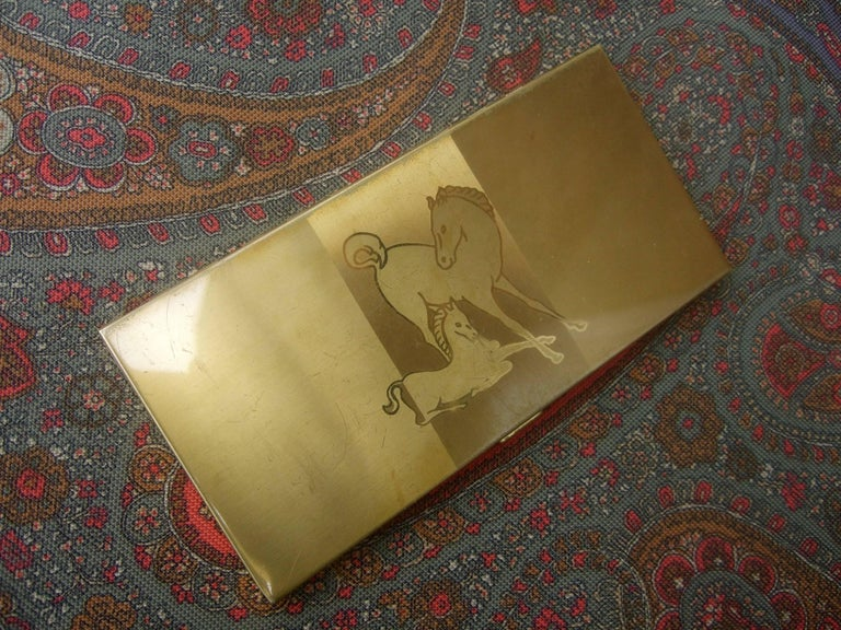 Women's or Men's Mid Century Brass Metal Equine Cigarette Case c 1960 For Sale