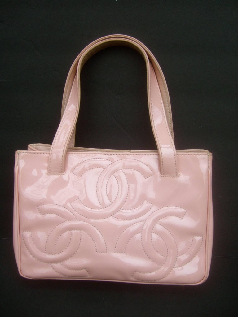 Chanel Pink Patent Leather Handbag In Shabby Chic As Is Condition The Pale