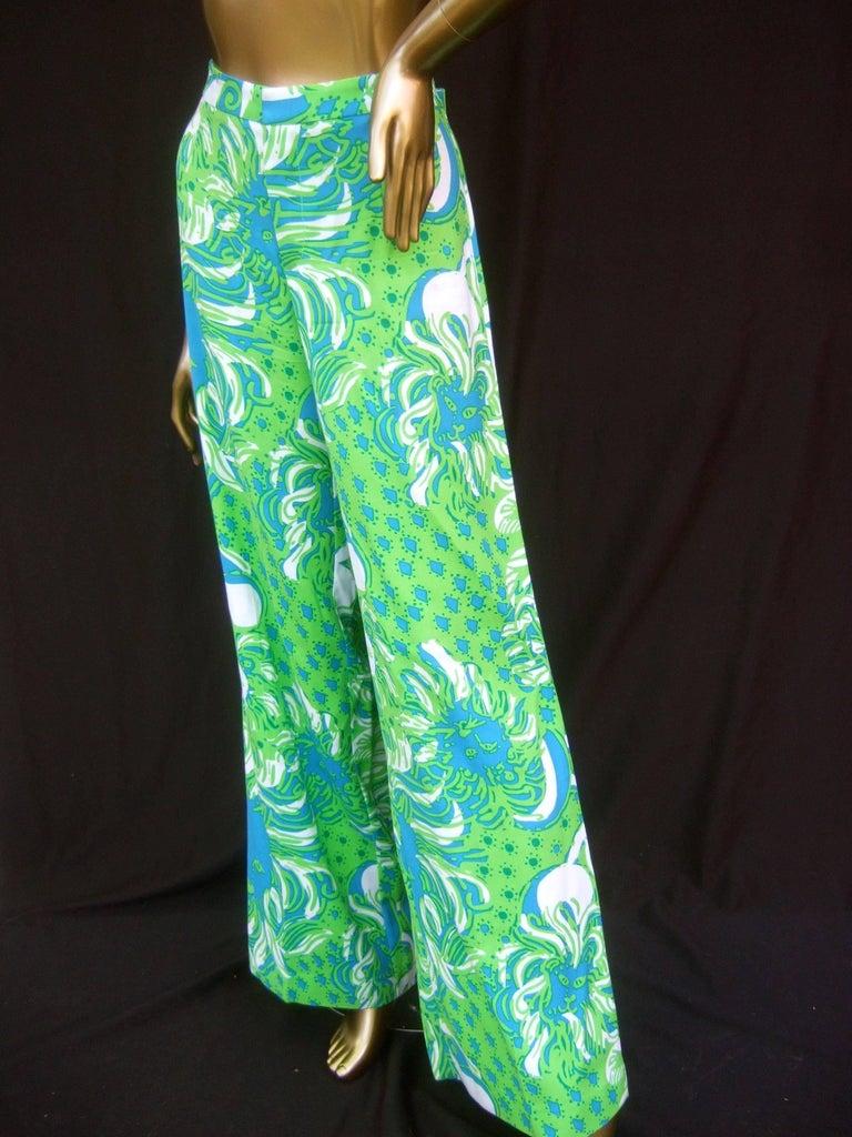 Blue Lilly Pulitzer Women's Vibrant Tiger Print Slacks US Size 6  For Sale