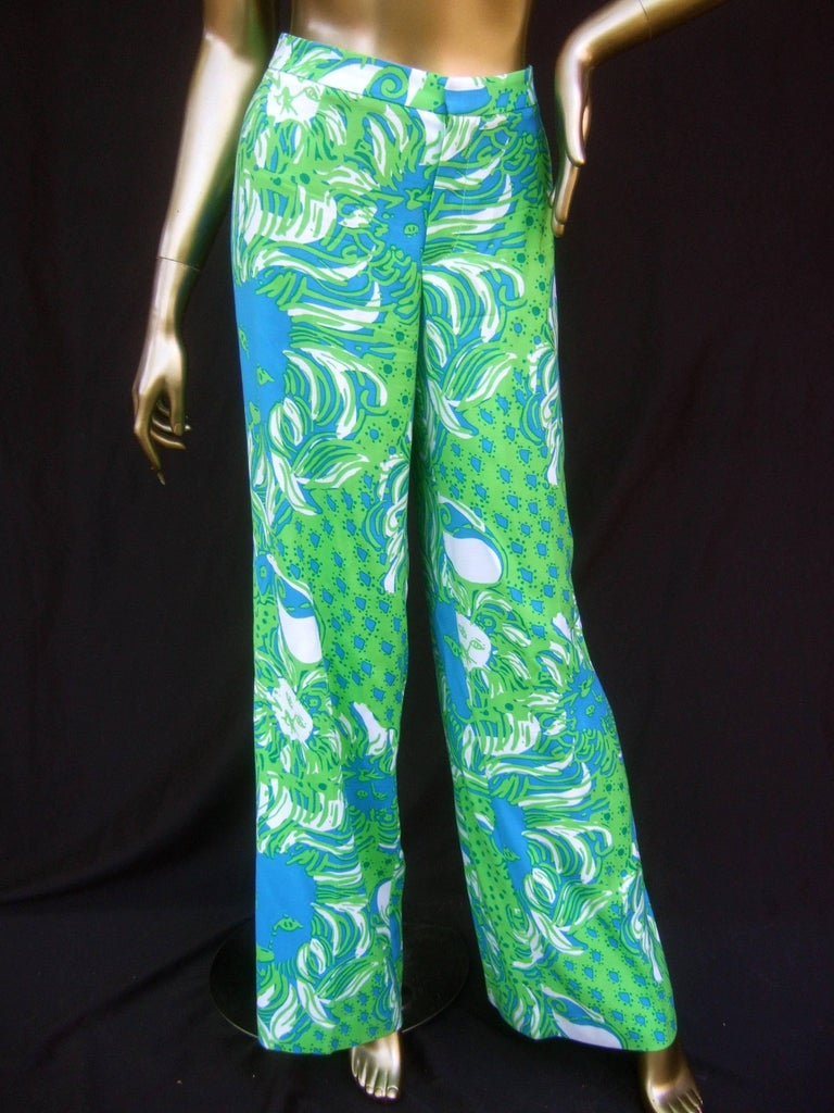Lilly Pulitzer Women's Vibrant Tiger Print Slacks US Size 6  For Sale 1