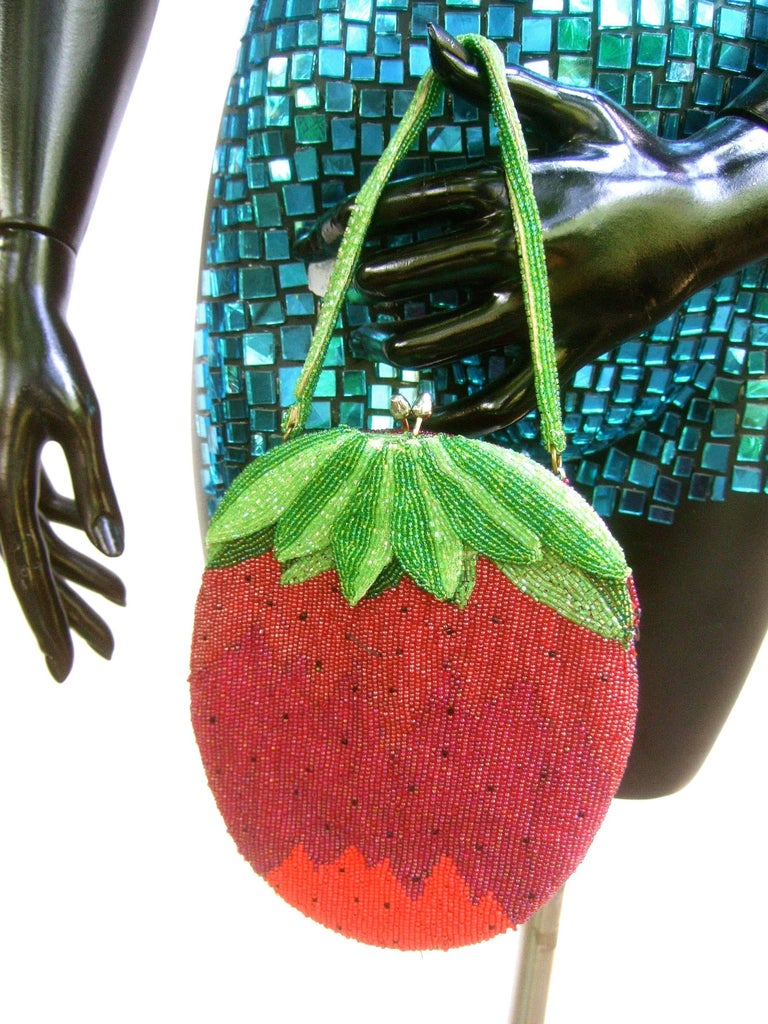 Red Whimsical Glass Beaded Strawberry Evening Bag circa 1970s For Sale