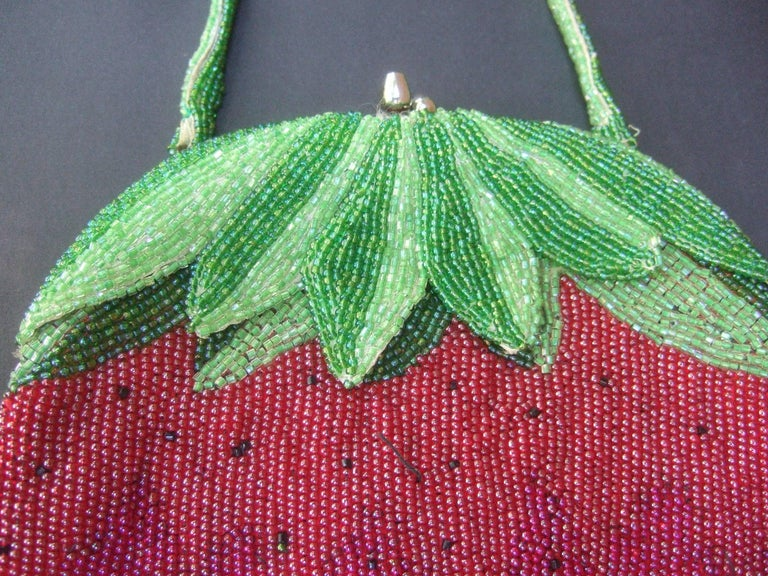 Women's Whimsical Glass Beaded Strawberry Evening Bag circa 1970s For Sale