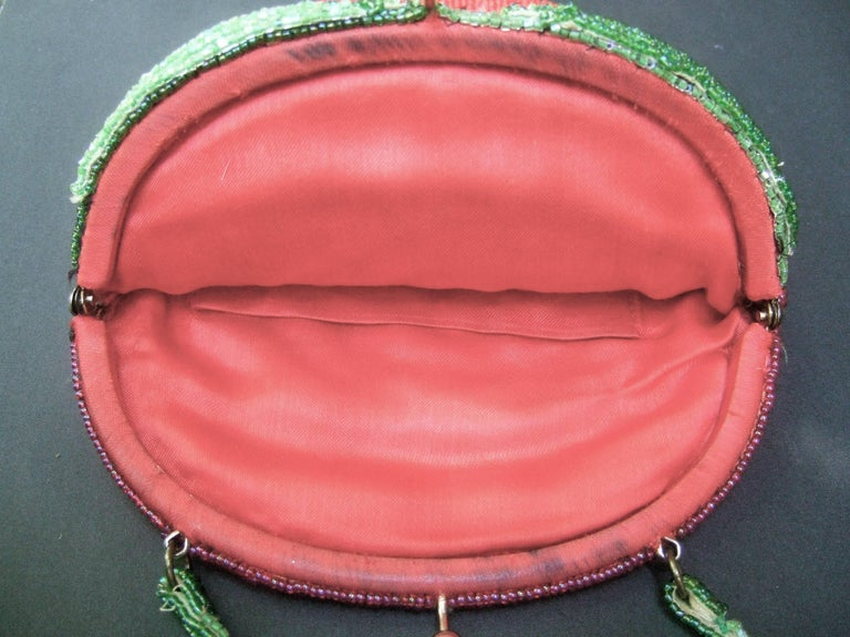Whimsical Glass Beaded Strawberry Evening Bag circa 1970s For Sale 4