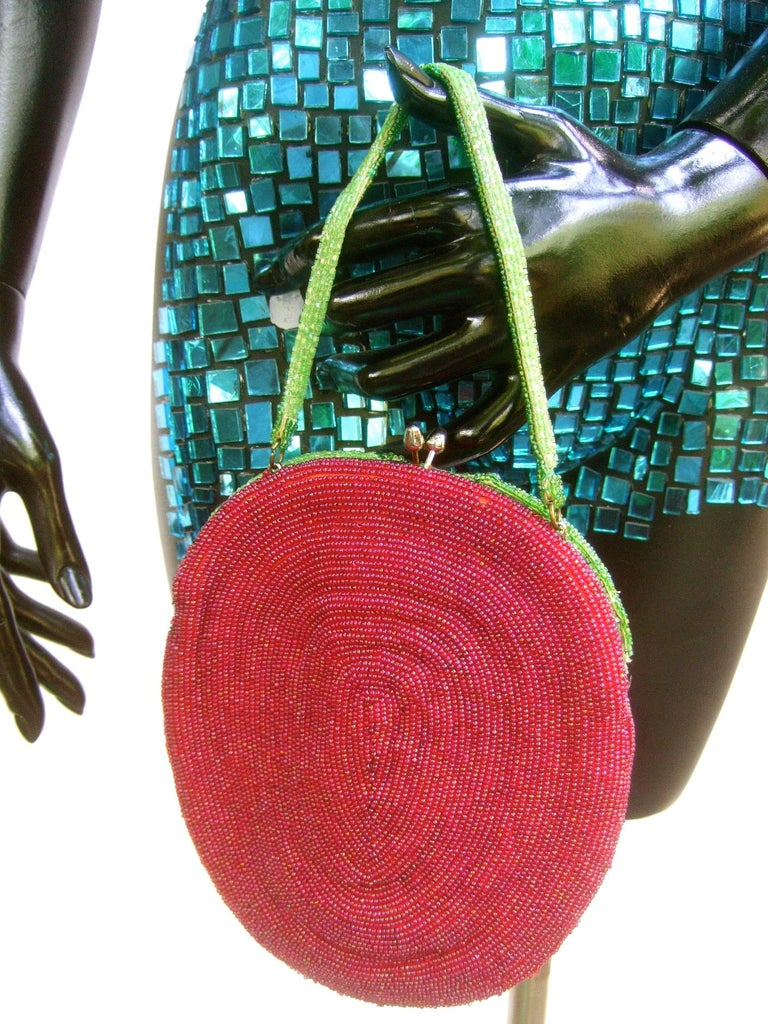 Whimsical Glass Beaded Strawberry Evening Bag circa 1970s For Sale 3