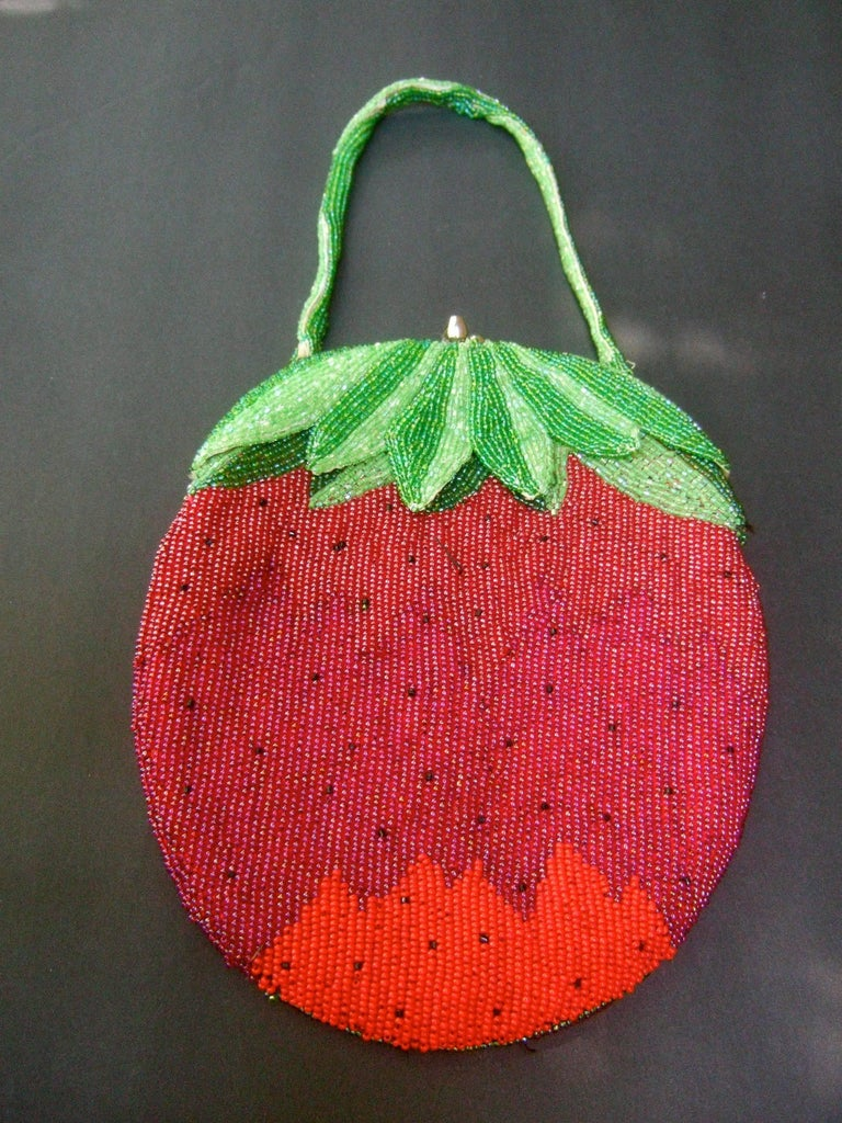 Whimsical Glass Beaded Strawberry Evening Bag circa 1970s For Sale 1