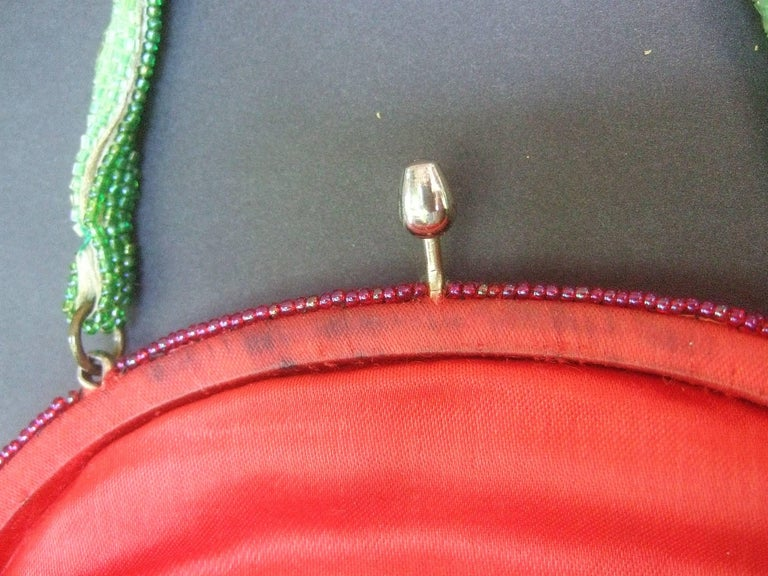Whimsical Glass Beaded Strawberry Evening Bag circa 1970s For Sale 5