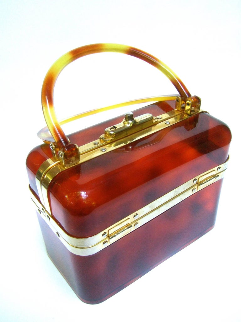 Brown 1970s Sleek French Tortoise Shell Lucite Box Purse For Sale