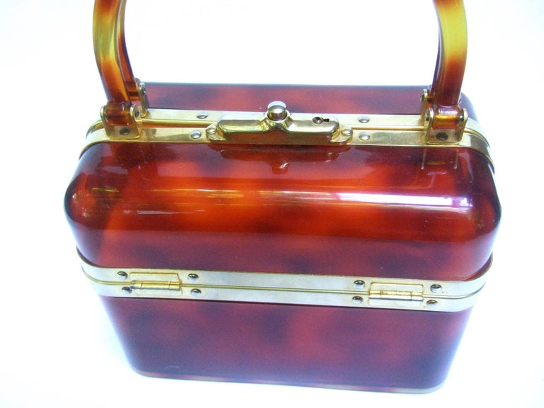 1970s Sleek French Tortoise Shell Lucite Box Purse In Good Condition For Sale In Santa Barbara, CA