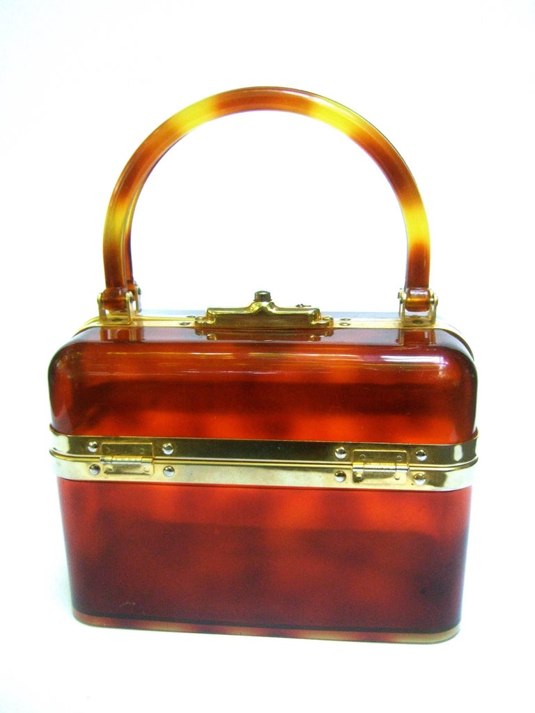 Women's 1970s Sleek French Tortoise Shell Lucite Box Purse For Sale