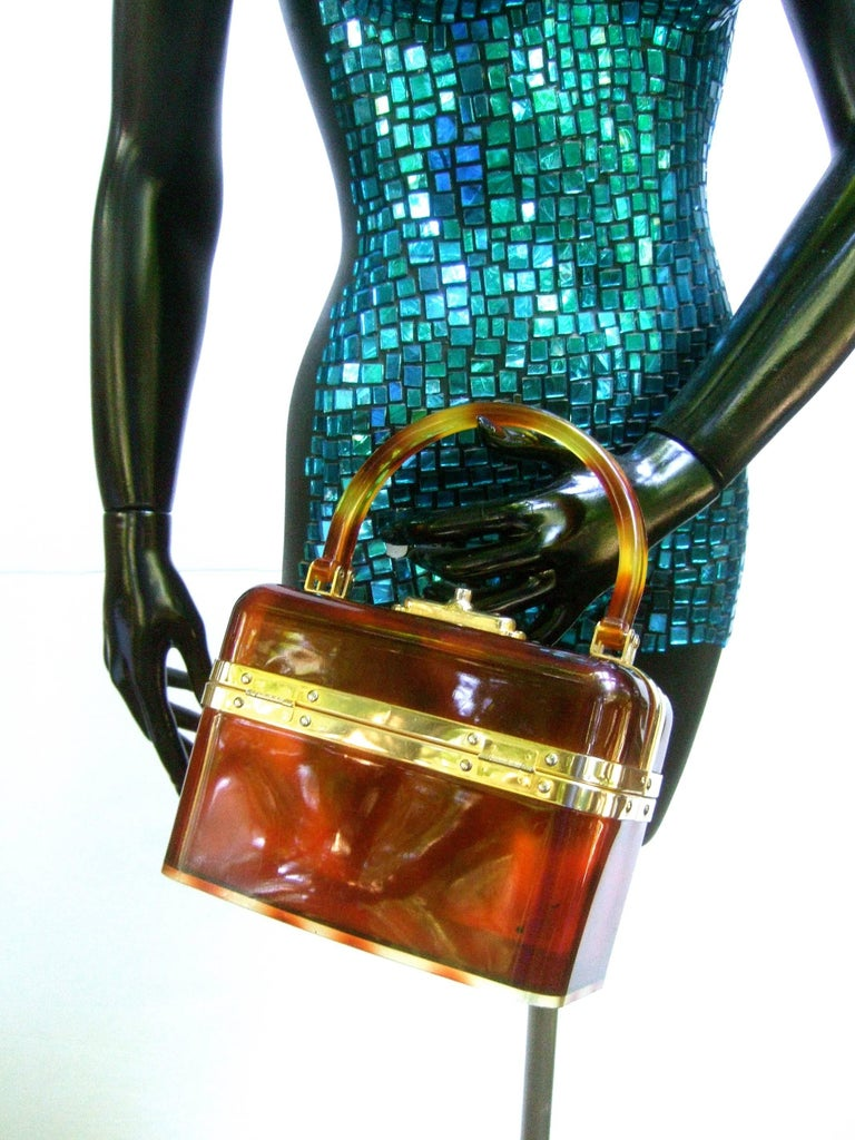 1970s Sleek French Tortoise Shell Lucite Box Purse For Sale 1