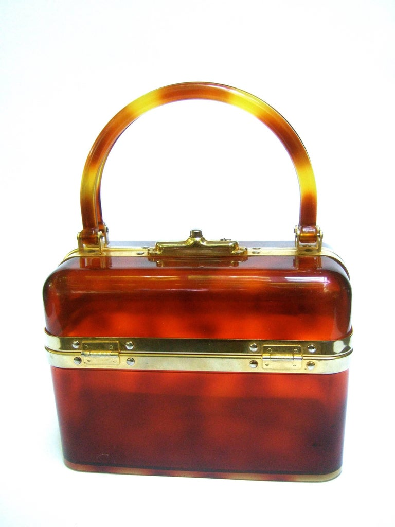 1970s Sleek French Tortoise Shell Lucite Box Purse For Sale 6