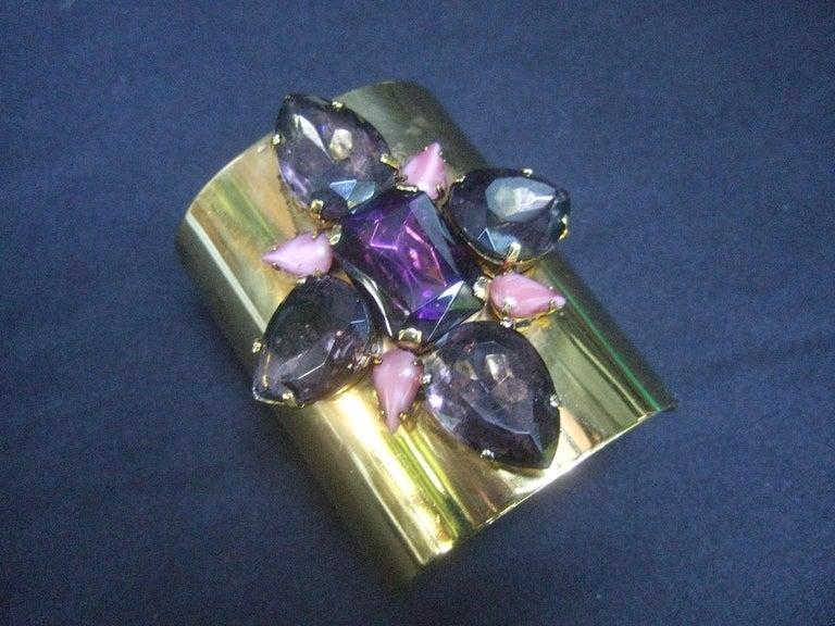 Artisan Erickson Beamon Wide Gilt Metal Pastel Crystal Jeweled Cuff Bracelet circa 1990s For Sale