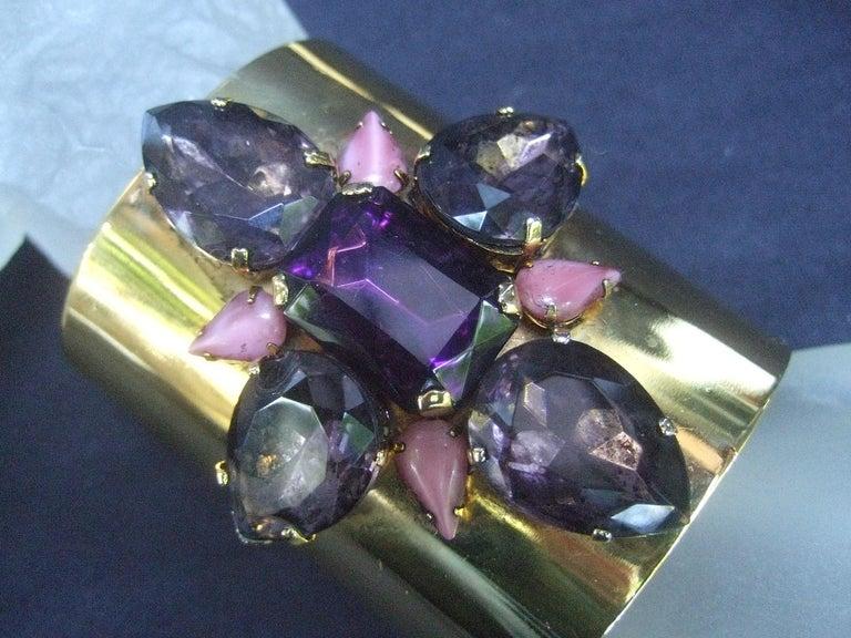 Women's Erickson Beamon Wide Gilt Metal Pastel Crystal Jeweled Cuff Bracelet circa 1990s For Sale
