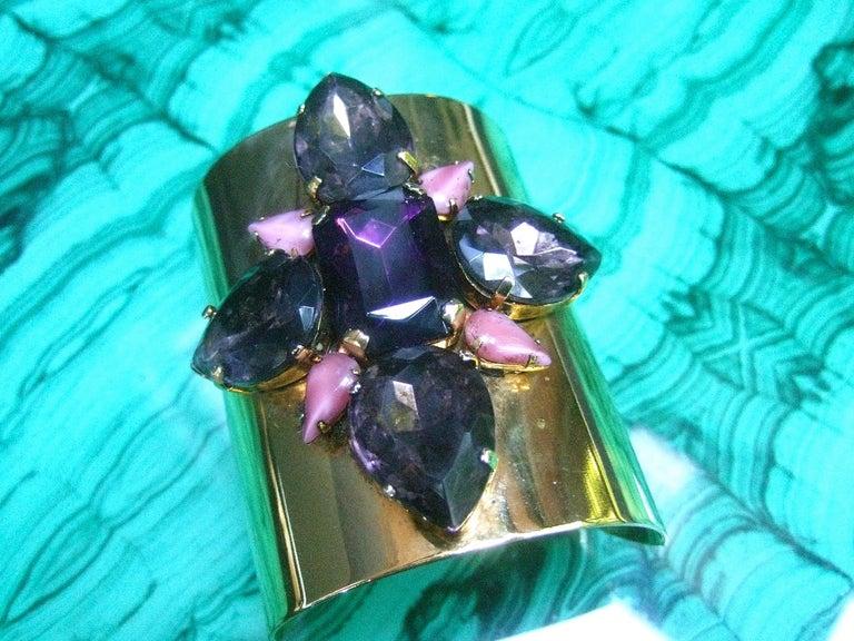Erickson Beamon Wide Gilt Metal Pastel Crystal Jeweled Cuff Bracelet circa 1990s For Sale 1