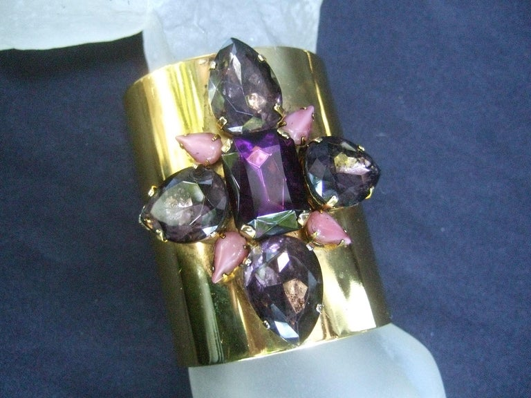 Erickson Beamon Wide Gilt Metal Pastel Crystal Jeweled Cuff Bracelet circa 1990s For Sale 5