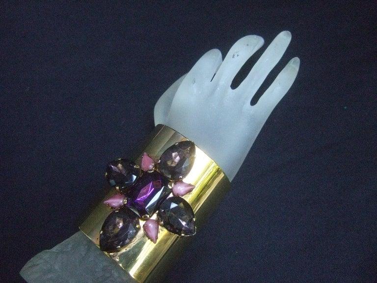Erickson Beamon Wide Gilt Metal Pastel Crystal Jeweled Cuff Bracelet circa 1990s For Sale 9