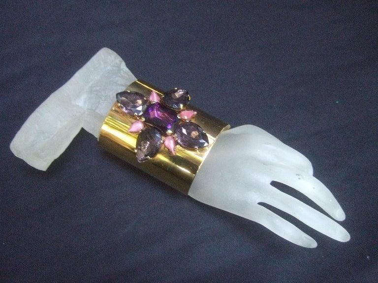 Erickson Beamon Wide Gilt Metal Pastel Crystal Jeweled Cuff Bracelet circa 1990s For Sale 6