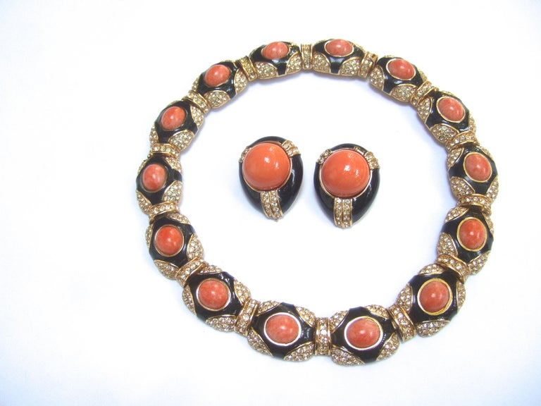 Ciner Coral Resin Jeweled Choker & Earring Ensemble circa 1980 For Sale 3