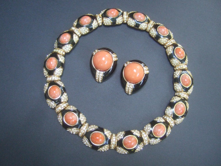 Women's Ciner Coral Resin Jeweled Choker & Earring Ensemble circa 1980 For Sale