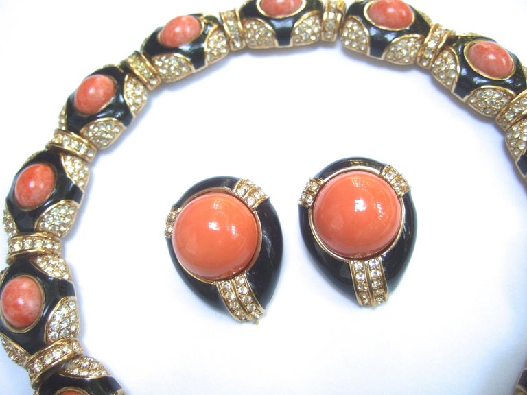 Ciner Coral Resin Jeweled Choker & Earring Ensemble circa 1980 For Sale 1