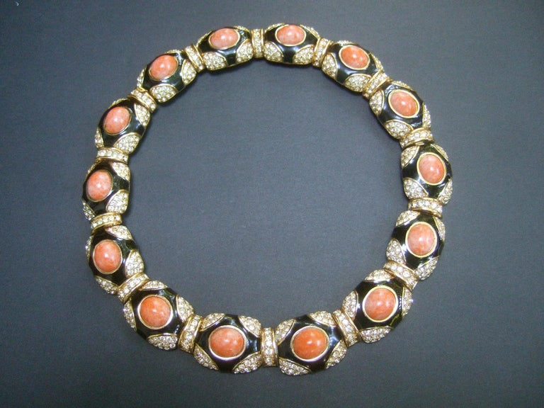 Ciner Coral Resin Jeweled Choker & Earring Ensemble circa 1980 For Sale 6