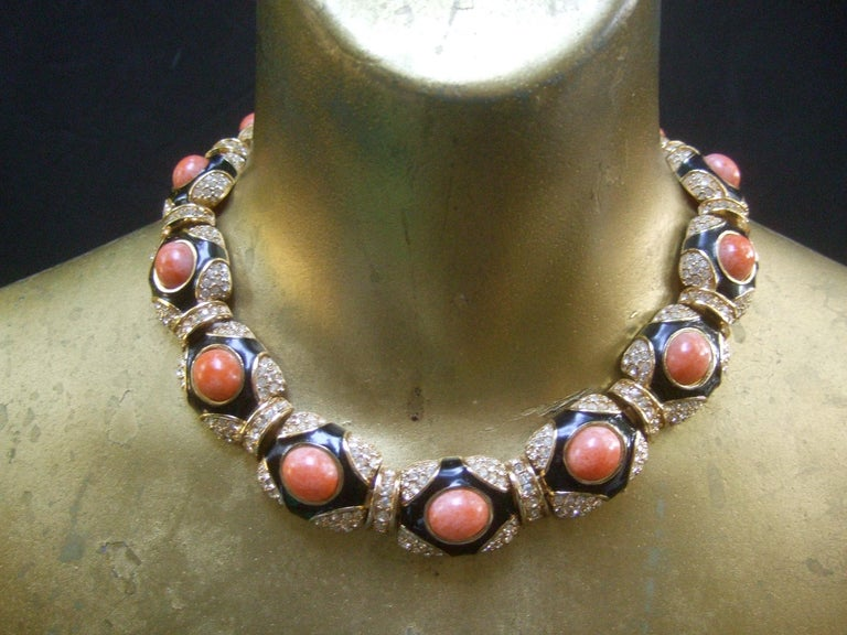 Ciner Coral Resin Jeweled Choker & Earring Ensemble circa 1980 For Sale 7