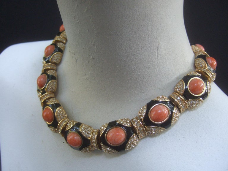 Ciner Coral Resin Jeweled Choker & Earring Ensemble circa 1980 For Sale 9