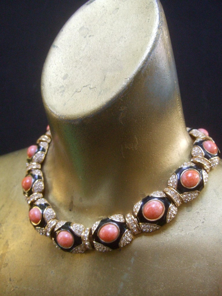 Ciner Coral Resin Jeweled Choker & Earring Ensemble circa 1980 For Sale 10