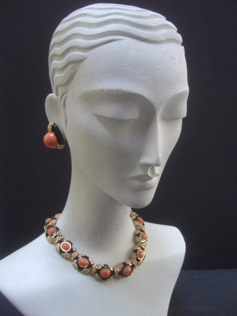 Ciner Coral Resin Jeweled Choker & Earring Ensemble circa 1980 For Sale 11