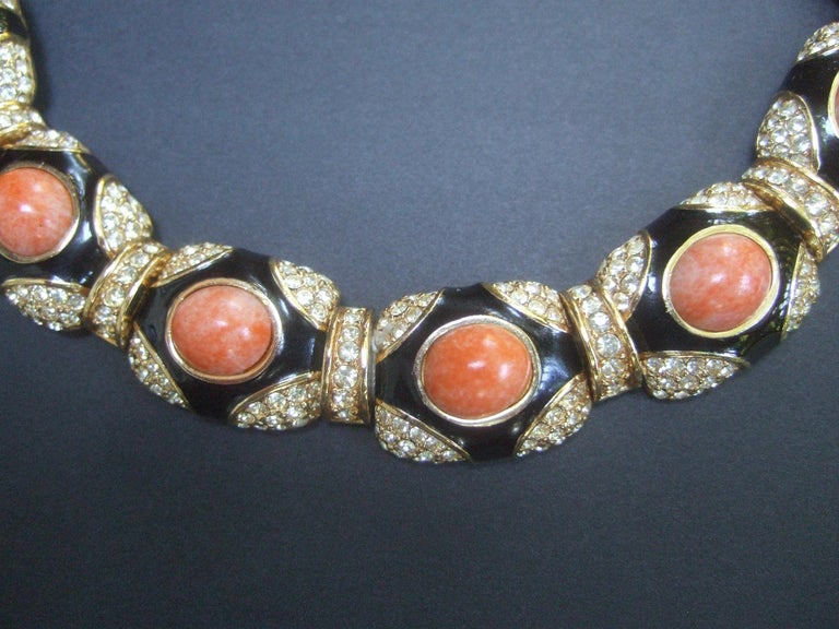 Ciner Coral Resin Jeweled Choker & Earring Ensemble circa 1980 For Sale 13
