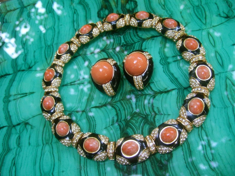 Ciner Coral Resin Jeweled Choker & Earring Ensemble circa 1980 For Sale 14
