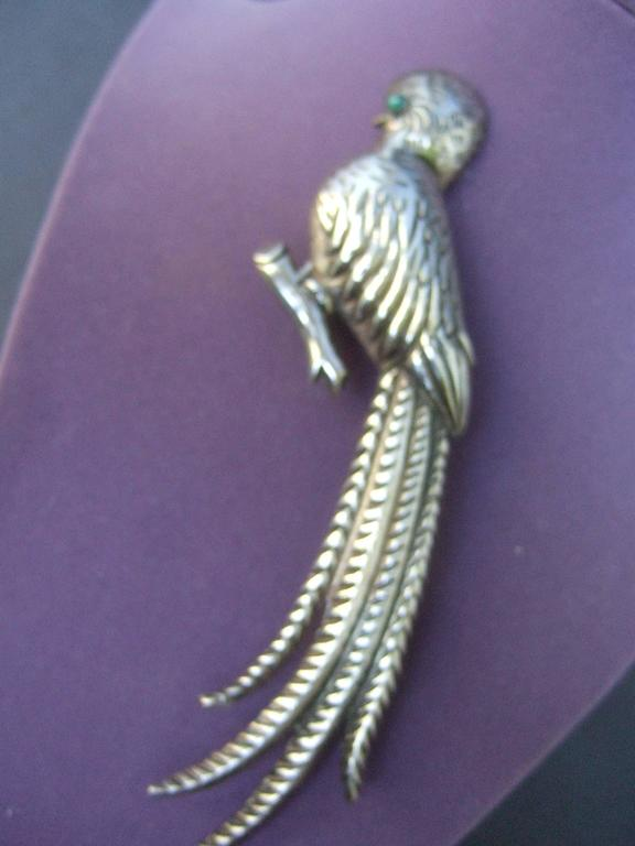 Massive Mexican Sterling Parrot Brooch c 1940s In Excellent Condition For Sale In Santa Barbara, CA